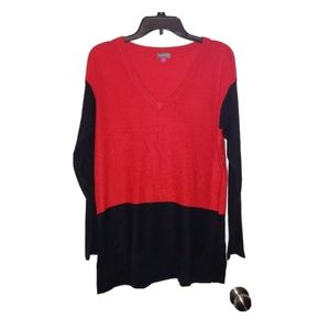M Vince Camuto Red Black Colorblock V-Neck Sweater